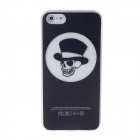 Protective Gentleman Skull Plastic Case w/ LED Flash Light for Iphone 5 - Black + White
