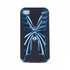 Electroplating Butterfly Pattern Protective PC + TPU Back Case for Iphone 4S - Blue + Black