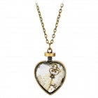 Crystal Heart Shape w/ Pearls Copper-aluminum Alloy Pendant Necklace for Women - Bronze