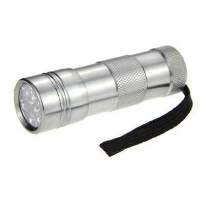 DX 12-LED UV Purple Flashlight Silver - Silver (3*AAA)