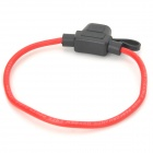 Car In -Line Auto Fuse Holder w / 20A Auto Fuse - Musta + Punainen