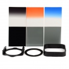 10-In-1 Color Gradient Filters + ND Filter + 77mm Ring Adapter Set for 77mm Lens Camera - Black