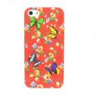 Protective Butterfly Over Flower Pattern Silicone Back Case for Iphone 5 - Red
