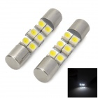 1.2W 50lm 6-SMD 1210 LED White Light Car 29mm Girlande Leselampe - Weiß + Silber (Paar)