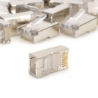 Red RJ45 Crimp Plugs - Transparente + Plata (30PCS)