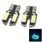 T10 1.2W 72lm 12-SMD 3528 LED Ice Blue Light Car Steering Light - (12V / 2 PCS)