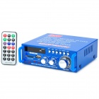 AV-253 TDA7377 Digital 2-Channel Amplifier w/ FM / Remote Controller - Blue + Silver + Black