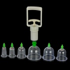 BGQ 6-in-1 Traditional Chinese Therapy Suction Apparatus Vacuum Cupping Set - Transparent + White
