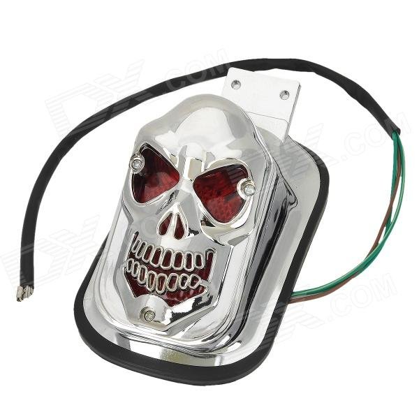 GZD15 60lm 1W Cool Skull Head Style Yellow Light Motorcycle Tail Brake Light - Silver skull head style 1w 4 led 60lm yellow light motorcycle steering lamps silver 12v