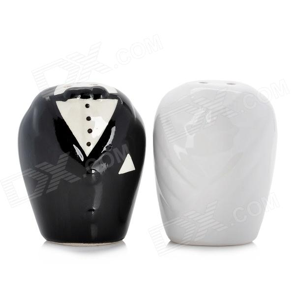 Cute Wedding Dress Style Ceramic Caster - White + Black (Pair)