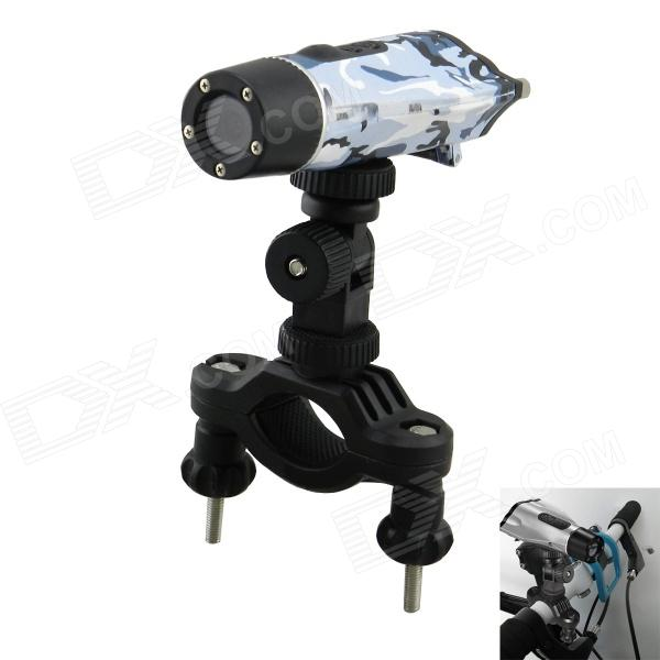 HD 720P 1.3MP Wide Angle Waterproof Bike / Motorcycle Sport Camcorder - Camouflage Blue