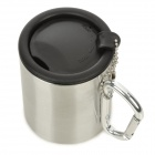 Quick Hanging Outdoor Stainless Steel Camping Cup w/ Carabiner Clip Handle - Black + Silver (300mL)