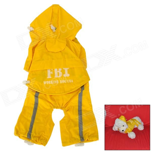 FBI Style Waterproof Polyester + Nylon Pet Raincoat for Dog - Yellow + White (Size: S) цены онлайн