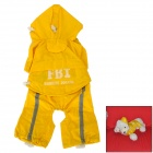 FBI Style Waterproof Polyester + Nylon Pet Raincoat for Dog - Yellow + White (Size: S)