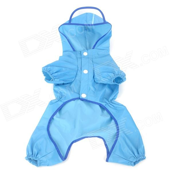 14 Polyester + Nylon Raincoat for Pet Dog - Blue + White (Size M)