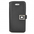 Protective PU Leather Flip-open Case w/ Magnetic Metal Button for Iphone 5 - Black