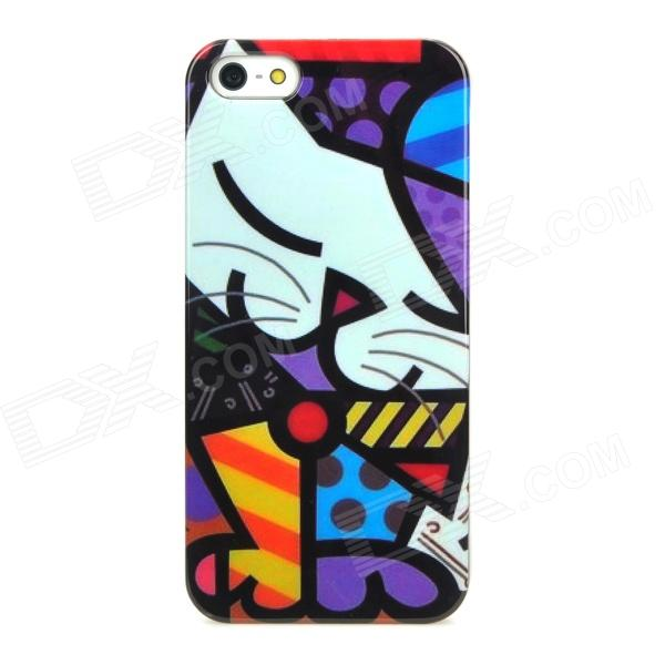 Cute Protective Kitty Pattern Plastic Back Case for Iphone 5 - Multicolor