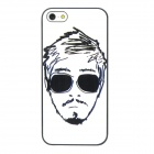 Fashionable Man Pattern Protective Plastic Hard Back Case for Iphone 5 - Black + White