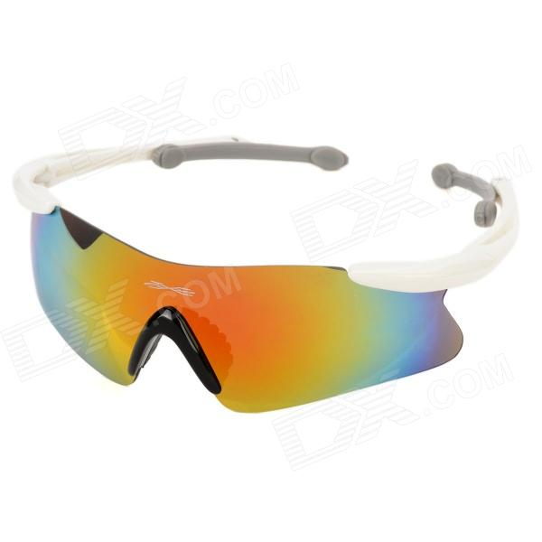 CASHIRO 30510 Outdoor Riding Resin Lens PC Frame UV Protection Sunglasses Goggles - White clip on uv400 protection resin lens attachment sunglasses small