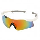 CASHIRO 30510 Outdoor Riding Resin Lens PC Frame UV Protection Sunglasses Goggles - White