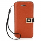 Stylish PU Leather Case w/ Metal Buckle for Iphone 5 - Coffee
