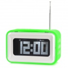 "4"" LCD Digital Desk Table Alarm Clock w/ FM / Dual Sides Speaker - Green + White (4 x AA)"