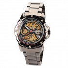 Men's Stainless Steel Analog Mechanical Self-Winding Waterproof Skeleton Wrist Watch - Black
