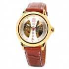 Men's PU Band Analog Mechanical Self-Winding Waterproof Skeleton Wrist Watch - Golden + Brown
