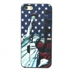 Stylish Statue of Liberty Pattern Plastic Back Case w/ Holder for iPhone 5 - Blue + Red + White