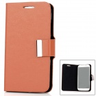 Protective PU Leather Flip-Open Case w/ Magnetic Button for Samsung i9500 Galaxy S4 - Brown + Black