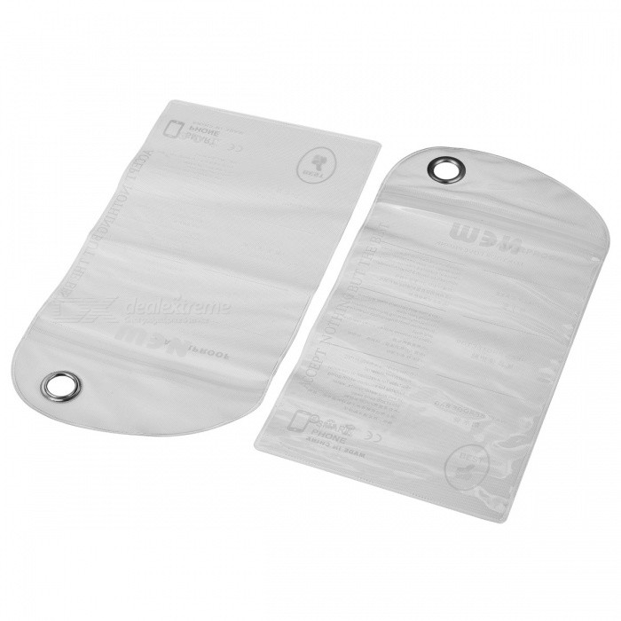 Universal PVC Waterproof Bag for Cellphone / MP3 / Digital Camera + More - White + Gray (2 PCS)