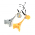 Xinghui Cute Eiffel Tower Phone Strap w/ Anti-dust Plug for Couple (1 Pair) - Gray + Yellow
