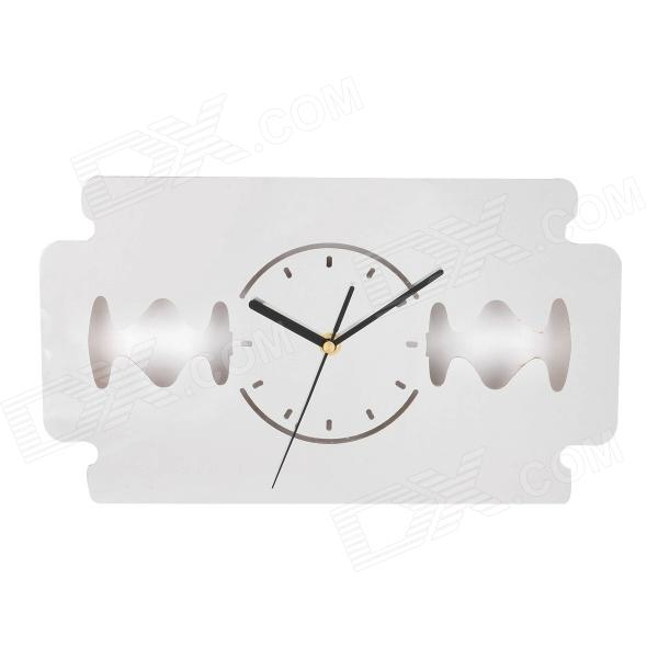DIY Creative Blade Style Mirror Silent Wall Clock - Silver (1 x AA) creative coffee time wall mounted clock blue 1 x aa