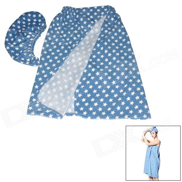BS-C21-2609 Star Pattern Microfiber Bath Towels w/ Hat Towels Set - Blue + White от DX.com INT