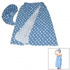 BS-C21-2609 Star Pattern Microfiber Bath Towels w/ Hat Towels Set - Blue + White