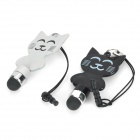 Cute KT Cat Capacitive Screen Stylus w/ 3.5mm Anti-dust Plug (1 Pair) - Black + White
