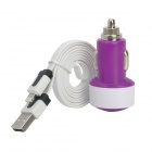 Car Charger + USB to 8-Pin Lightning Data/Charging Cable for iPhone 5 / iPad Mini - Purple + White