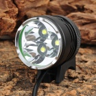 B31 3 x Cree XM-L T6 1800~2500lm 3-Mode White Bicycle Light - Black (4 x 18650)