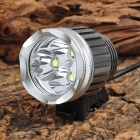 B32 2500lm 3-Mode White Headlamp Bicycle Light w/ 3 x Cree XM-L T6 - Grey + Silver (4 x 18650)