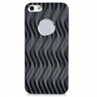 Wave Pattern Protective Aluminum Alloy + PC Back Cover Case for Iphone 5 - Silver + Black