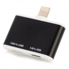 Micro USB + Mini USB Female to 8-Pin Lightning Adapter for iPhone 5 / iPad 4 - Black