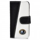 Protective PU Leather + Soft Plastic Flip-Open Case w/ Artificial Gem for Iphone 5 - Black + White