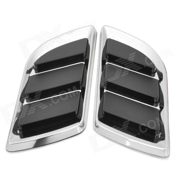 OB-616 Wing Shaped Car Side Air Flow Decorative Vent Fender Sticker - Black + Silver (Pair) universal car air intake decorative stickers silver pair
