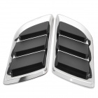 OB-616 Wing Shaped Car Side Air Flow Decorative Vent Fender Sticker - Black + Silver (Pair)