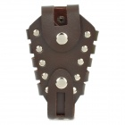 D-36 Protective Cow Leather Bag Holder Case for Slingshot Launcher - Dark Brown