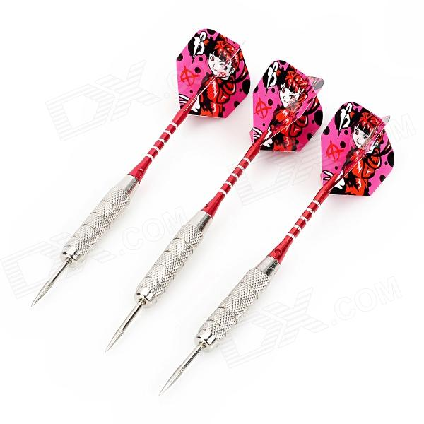 Cartoon Beauty Pattern Flight Nickel Plated Iron Darts - Red + Silver (3 PCS) fairy pattern flight sharp nickel plated iron darts silver purple 3 pcs