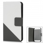 Simple Protective Flip-Open PU Leather Case for Samsung i9500 / S4 - White + Gray