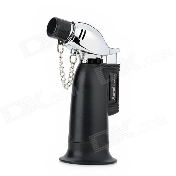 Windproof 1300'C Butane Jet Torch Lighter - Black + Silver windproof 1300 c butane jet gas lighter for soldering lighting cigarette black silver