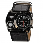 CrossFire Pattern Genuine Leather Band Cool Men's Analog Quartz Wrist Watch - Black (1 x CR2025)