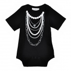 Doomagic Necklace Cute Necklace Pattern Cotton Baby Rompers - Black + White